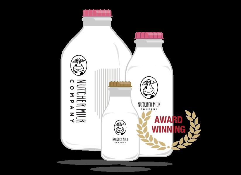 Nutcher Milk Company Packaging - Milk Bottles Screenshots of Nutcher Milk Company's website created by Farm To Shelf