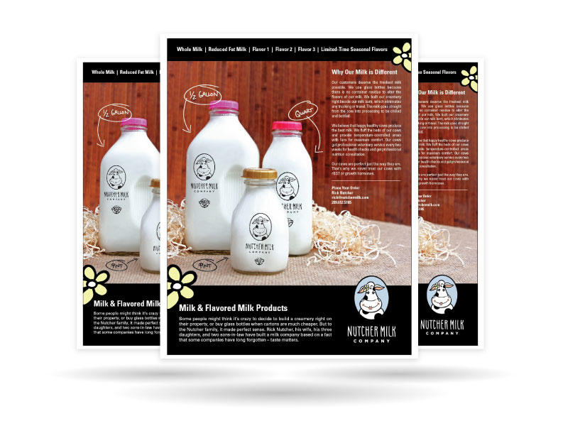 Nutcher Milk Company Sales Materials Screenshots of Nutcher Milk Company's website created by Farm To Shelf