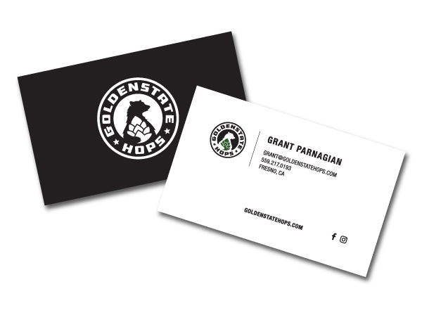 Branding for local hops producer golden state hops by farm to shelf business cards colourmoves